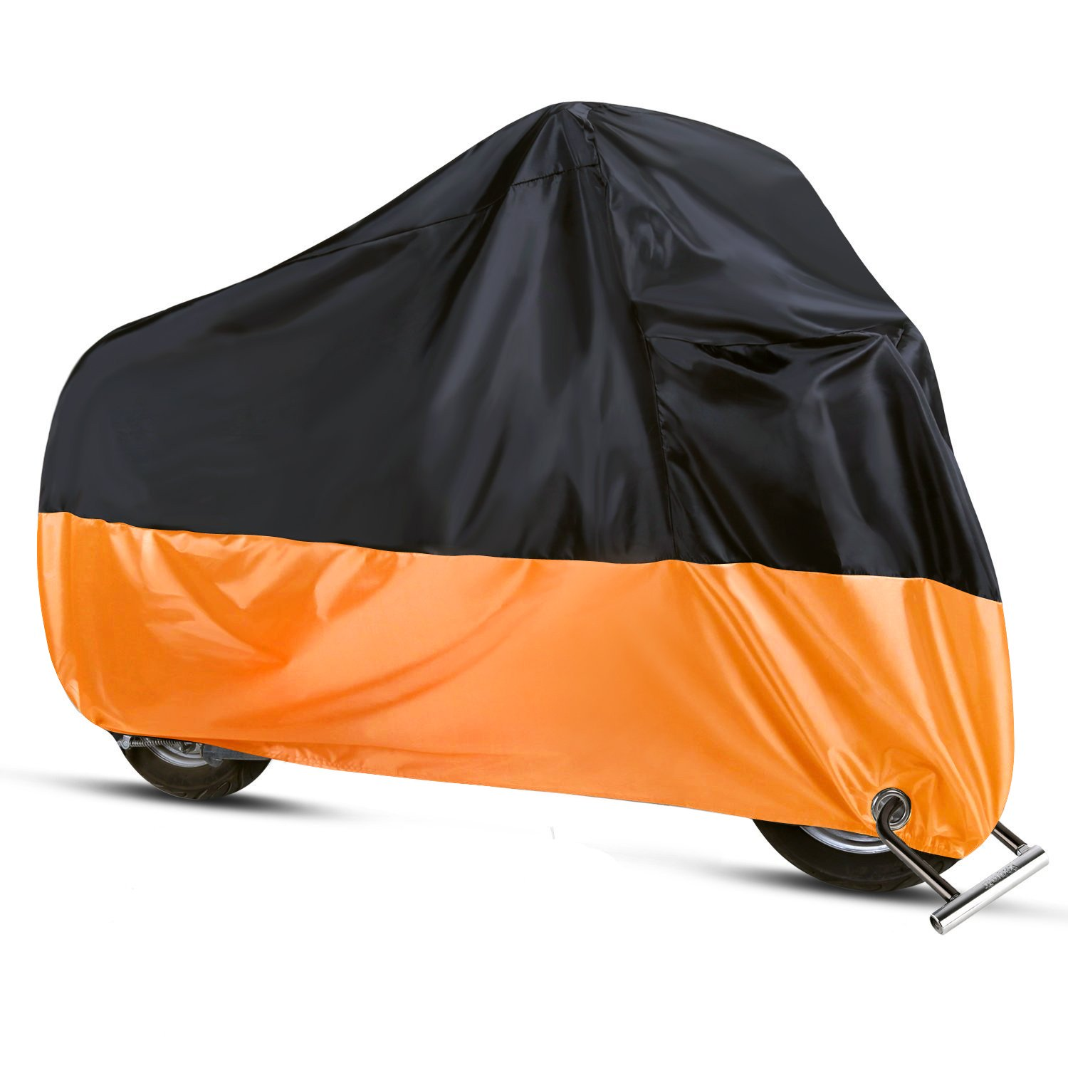 Sanku Waterproof Motorcycle Cover All Season Protection Outdoor Storage Bag,Precision Fits up to 96'' Motors , 2 Lock-holes Design, Anti-theft, Durable & Tear Proof (XL,Black& Orange) by Sanku