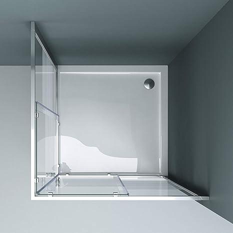 Sogood: Cabina de ducha de esquina Rav16MS 70x75x190 Mampara de vidrio templado con franjas de vidrio esmerilado 6mm   puerta corredera: Amazon.es: Bricolaje y herramientas