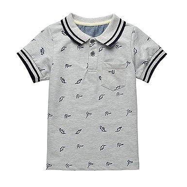 e25c58e6737b Amazon.com  Baby Boy T- Shirts Summer Dinosaur Boys T-Shirts Cotton Kids  Tops Tee Turn-Down Collar Boy