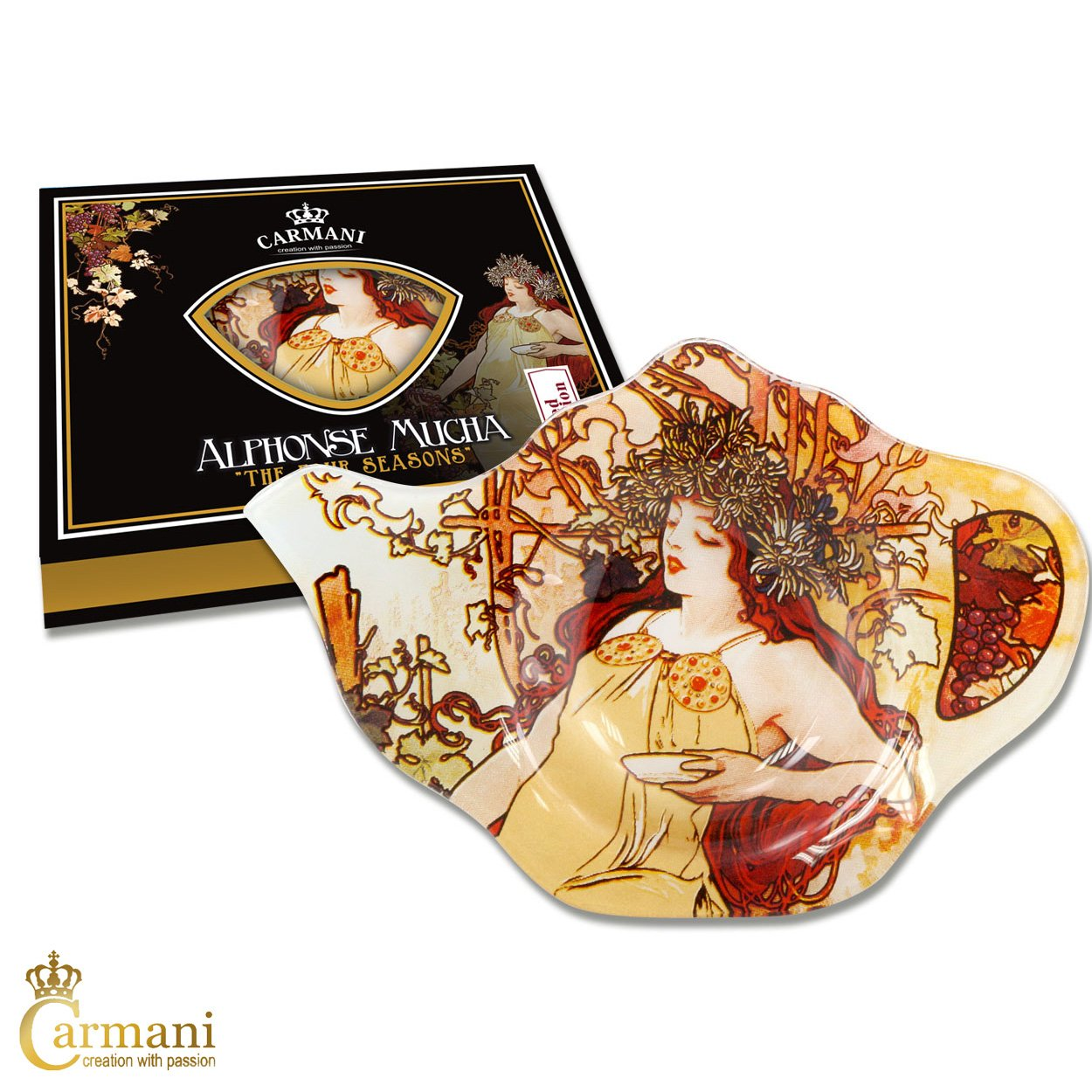 CARMANI - Elegant Glass Tea Bag Holder Dish in Teapot Shape with 'Four Season Autumn' by Alphonse Mucha