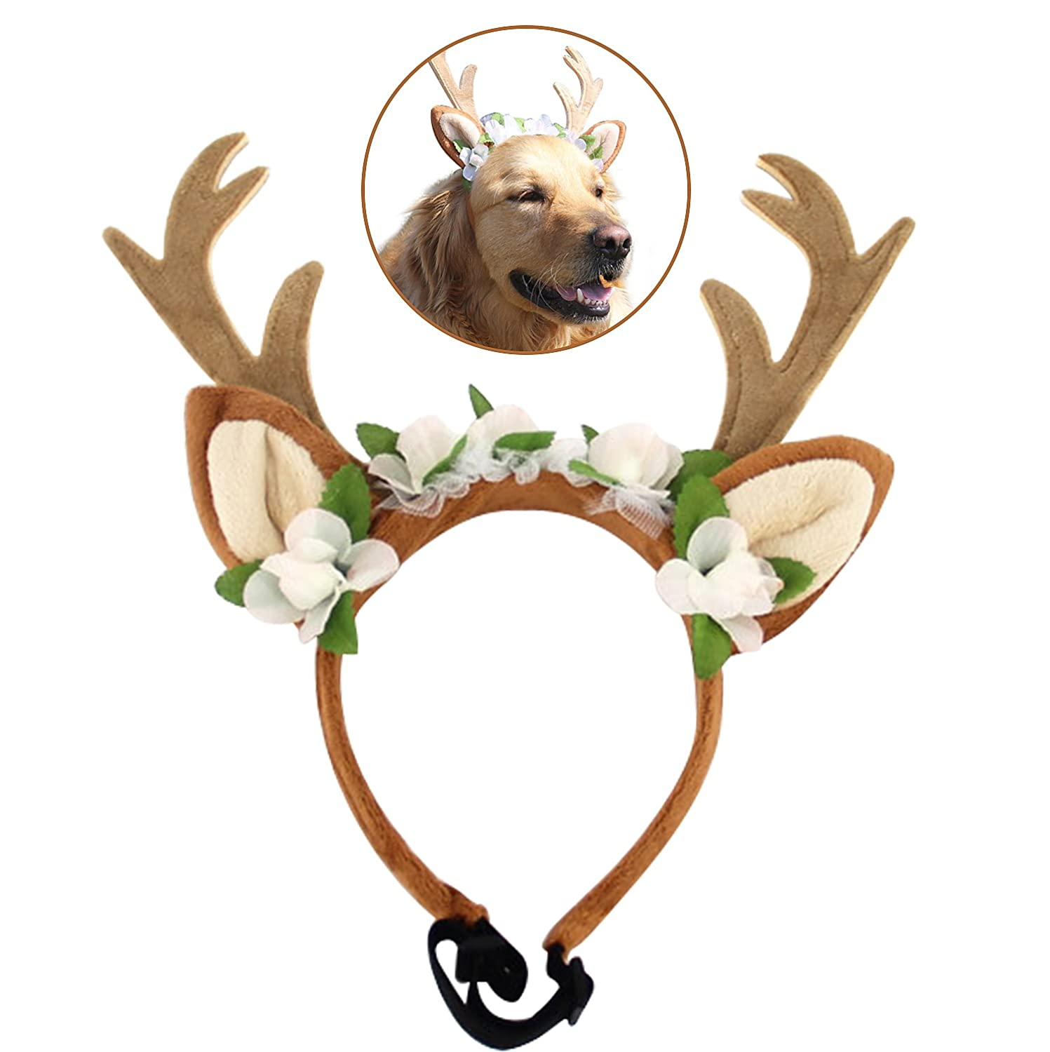 Bascolor Pet Costume Antlers Headbands with Ears Adjustable Flexible for Dogs Cats Various Size Halloween Christmas Festival Costume