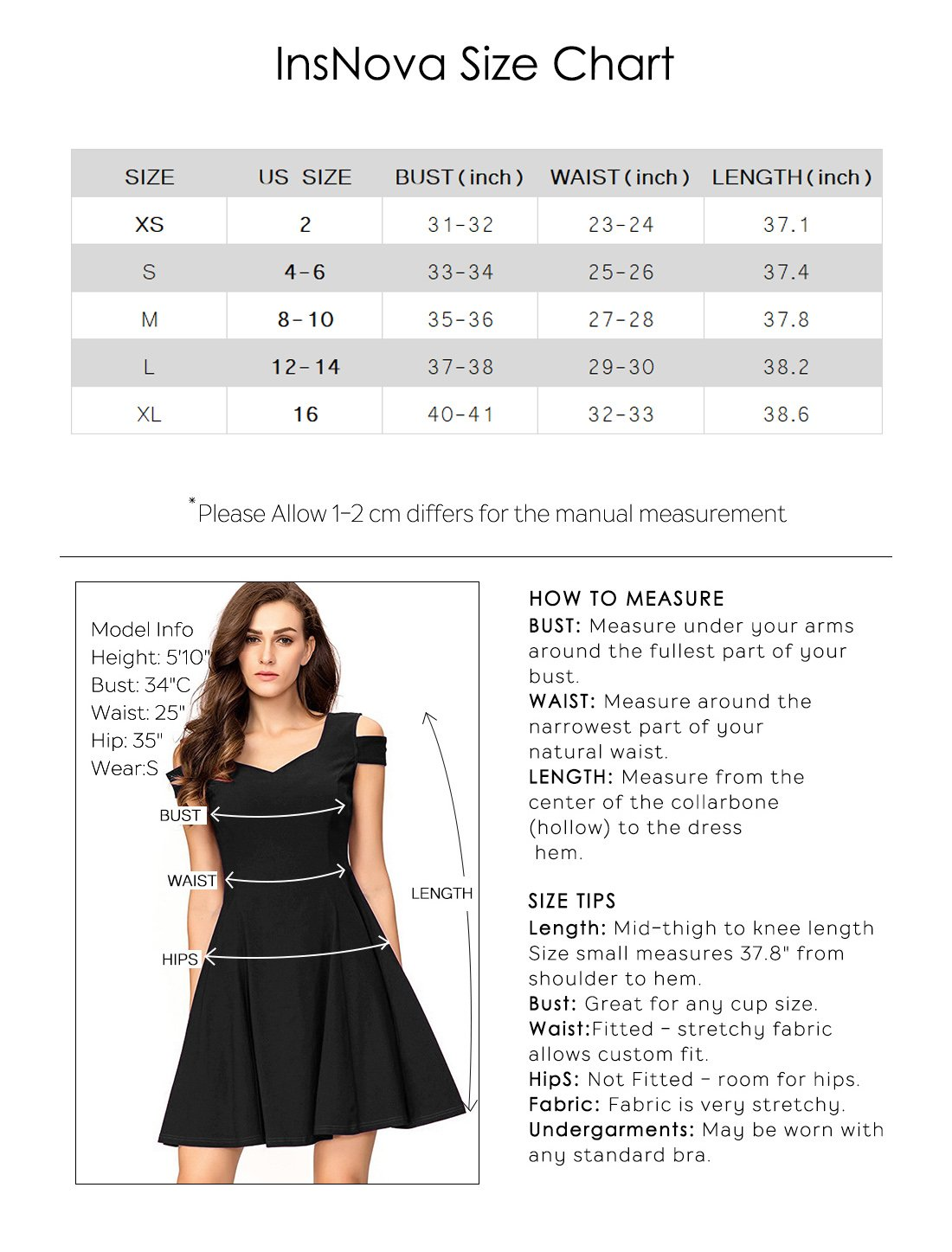 InsNova Cold Shoulder Flare Black Cocktail Dress for Women Evening Party by InsNova (Image #4)