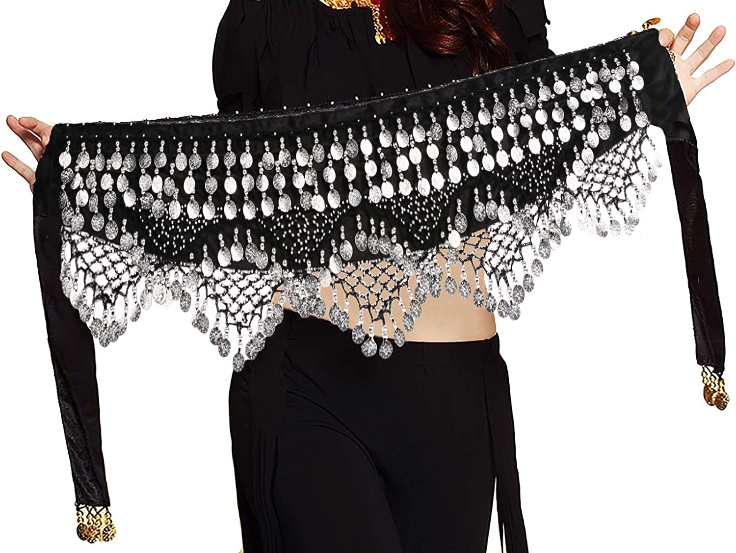 Belly Dance Hip Scarf  Bead Coins  luxury  New Egyptian Professional   73685