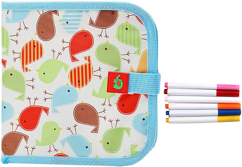 Meliya Erasable Sketchpad Portable Painting Book Reusable Drawing Writing Board Toys Gift for Kids 12 Colored Erasable Pens