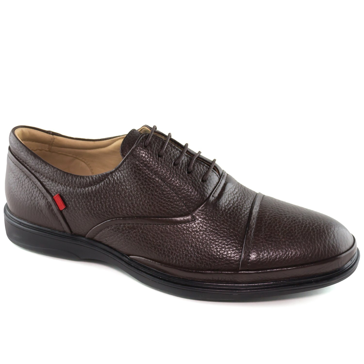 Mens Genuine Leather Made In Brazil Broad Street Classic Oxford Brown Grainy Lace Up Marc Joseph NY Fashion Shoes 10 by Marc Joseph New York