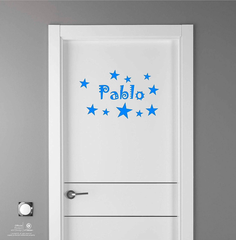 Paredes.Nombre: Pablo Puertas Artstickers Adhesivo Infantil para decoraci/ón de Muebles Kit de 10 Estrellas para Libre colocaci/ón. en Color Azul Nombre de 20cm