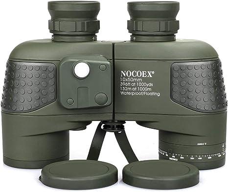 NOCOEX 10X50 Prismáticos Marinos para Adultos Impermeable con Brújula Brújula BAK4 a Prueba de Niebla Prism Lens Binocular Militar para Navegación ...