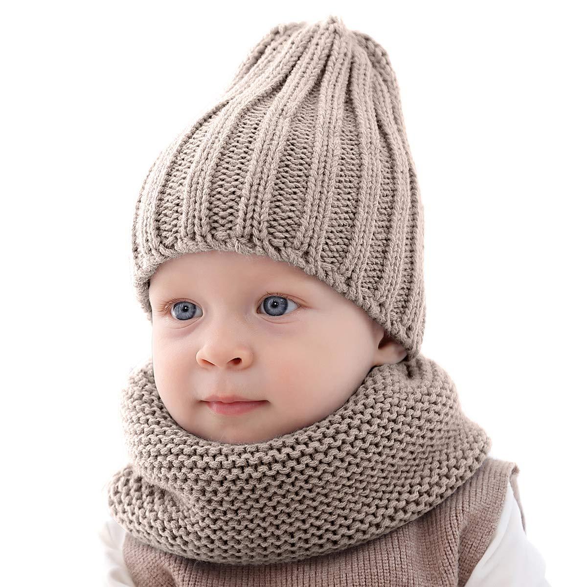 puseky Conjunto de Bufanda de 2 Piezas para beb/é ni/ño peque/ño Gorro de Punto c/álido Gorro de esqu/í y Calentador de Cuello para beb/és y ni/ñas
