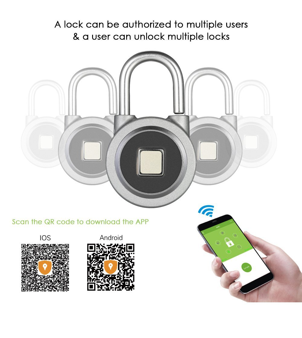 Amazon.com : Door Lock for Android iOS System Fingerprint Smart Keyless Lock Waterproof APP Button Password Unlock Anti-Theft Padlock : Camera & Photo