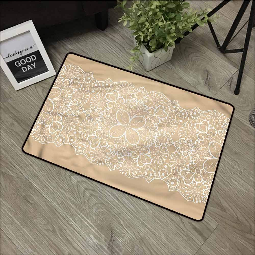 Beige and White,Outdoor Entrance MatAntique Lace Style for Garage Entrance,W39xH20 inch