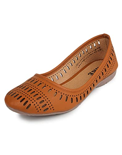 YAHE Women's Casual Faux Leather Belly Shoes Tan Colour 4 UK/India