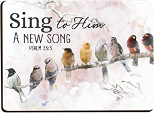 Sing To Him A New Song Bird Tree Branch Watercolor Look 2.5 x 3.5 Inch Wood Lithograph Magnet