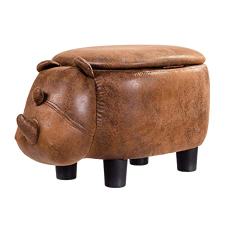 Giantex Suede Storage Ottoman Footrest Stool, Cushioned Seat Cute Animal Rhinocer Changing Shoes for Bedroom Living Room Entryway Soft Upholstered Accent Ride-on Ottomans w Flip Top Lid Brown
