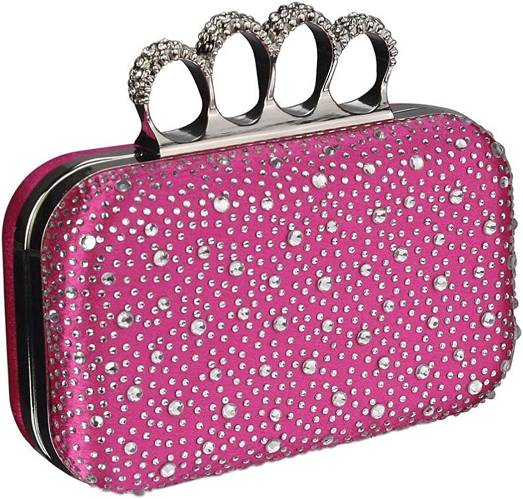 Womens Knuckle Ring Handle Clutch Bag in a Gift Box Prom Wedding Bridal Ladies Evening