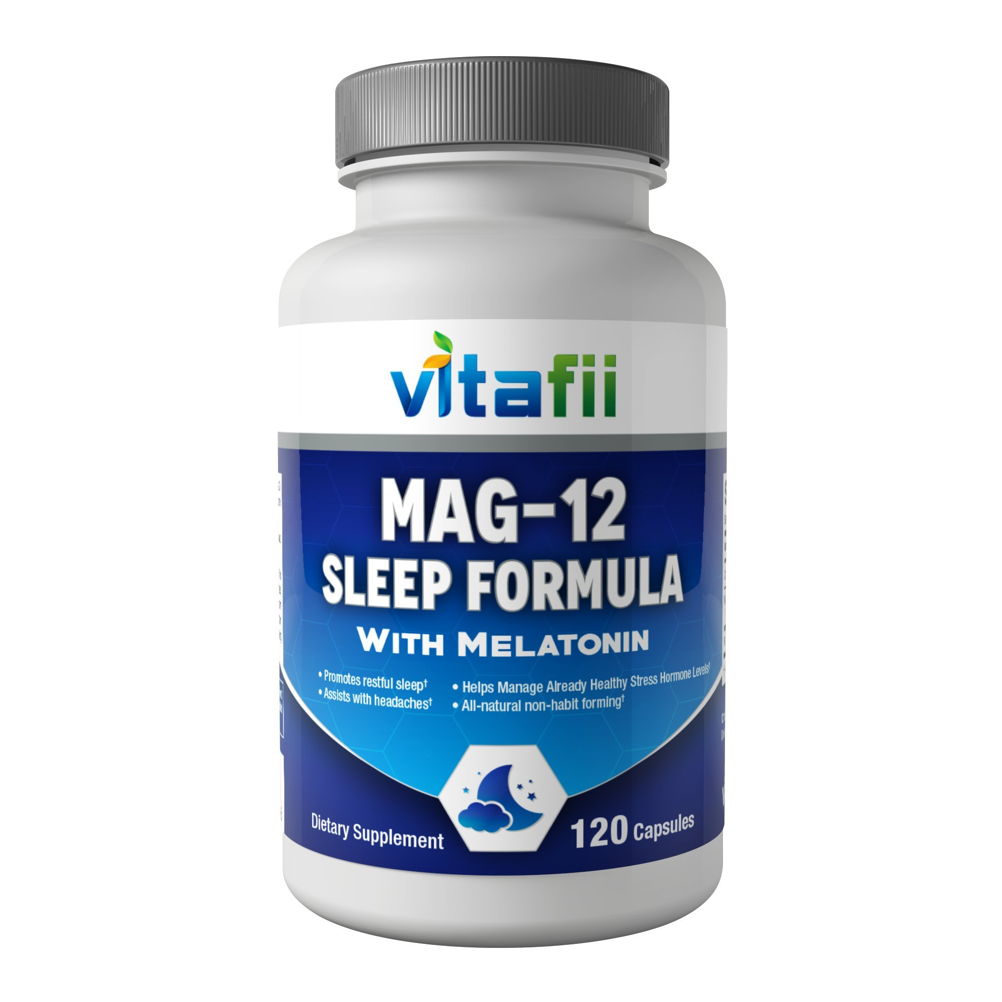 Vitafii Natural Sleep Aid Supplement - With Melatonin Magnesium Glycinate and Vitamin B12 - Non-Habit Forming Sleeping Pills - Aids and Supports a Calm Refreshed Sleep - 120 All-Natural Vegan Capsules