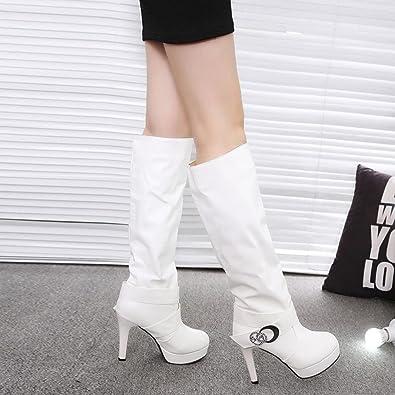 ESAILQ Femme Mode Boucle Pierres De Strass Décoration Bottes Hautes Cuir PU Motard Bottines Chaussures à Talons Hauts (42, Jaune)