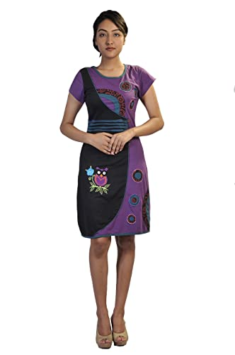 Dress Maniche corte delle donne con multicolore floreale Patch stampa e ricamo