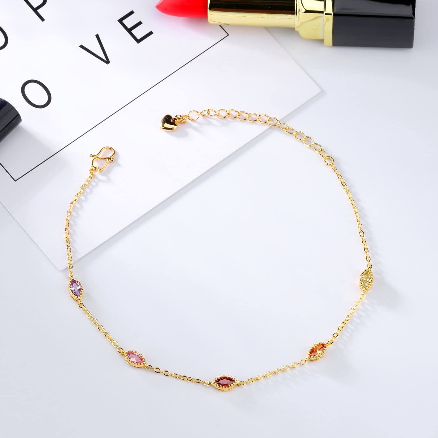 JAJAFOOK 18K Gold Plated Anklet Bracelet With Colorful Crystal Stone Women Barefoot Sandal Beach Jewelry