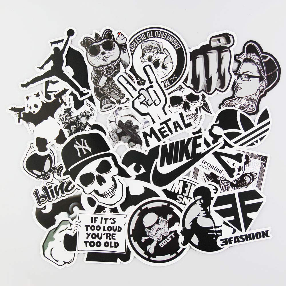 Laptop stickers black and white 100pcs sticker variety clear vinyl car sticker motorcycle bicycle luggage decal graffiti patches skateboard cool stickers