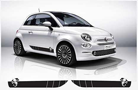 Amazon.com: Fiat 500 Abarth side decal with scorpion L+R set (black ...