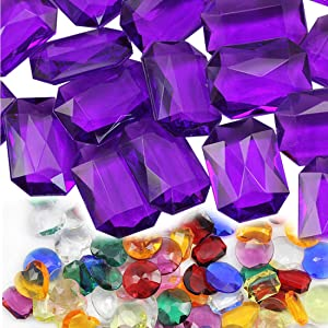 25x18mm Purple CH22 Octagon Acrylic Pirate Treasure Gems Plastic Jewels for Party & Games, Table Scatter, Vase Fillers, Wedding Decor Gemstones Favors - 40 Pieces
