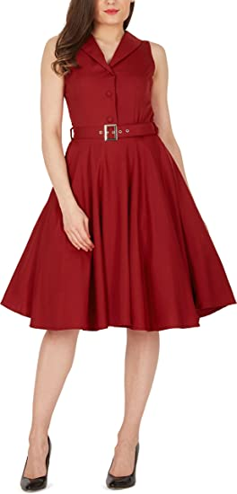 66516134237c BlackButterfly 'Luna' Clarity Retro Swing Sleeveless Pin Up Dress  (Burgundy, ...