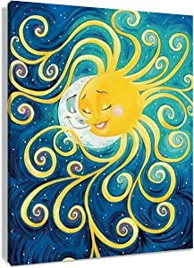 HVEST Sun and Moon Canvas Wall Art Starry Sky in Space Artwork Landscape Paintings for Bedroom Living Room Bathroom Wall Decor,Stretched and Framed Ready to Hang,12x16 inches