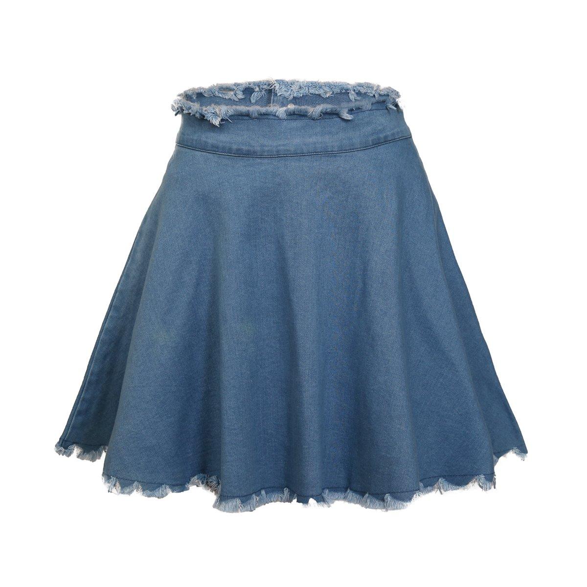 SUWIINA Women's Denim Jean Casual Basic Frayed Hem Pleated Ruffle Fringed Mini Short Skirt
