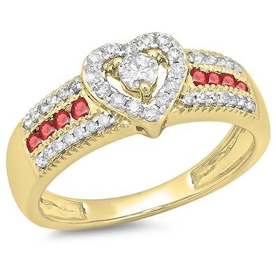 bague or jaune cœur rubis et diamant