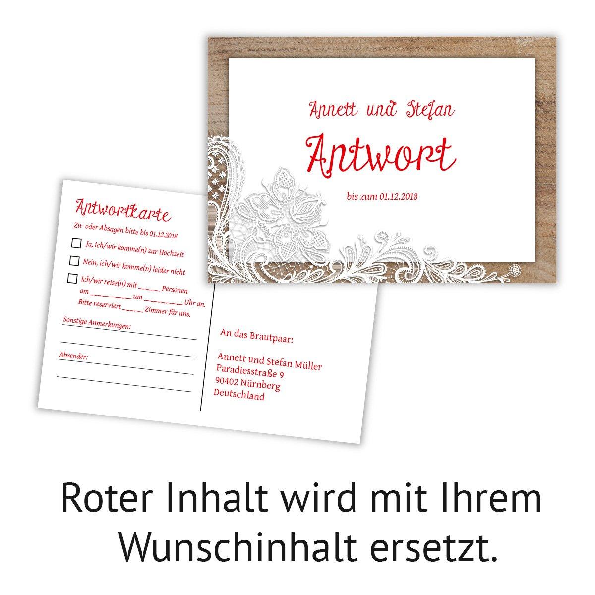 20 x antwortkarte hochzeit hochzeitskarten antwort postkarte rustikal mit weißer spitze amazon de bürobedarf schreibwaren