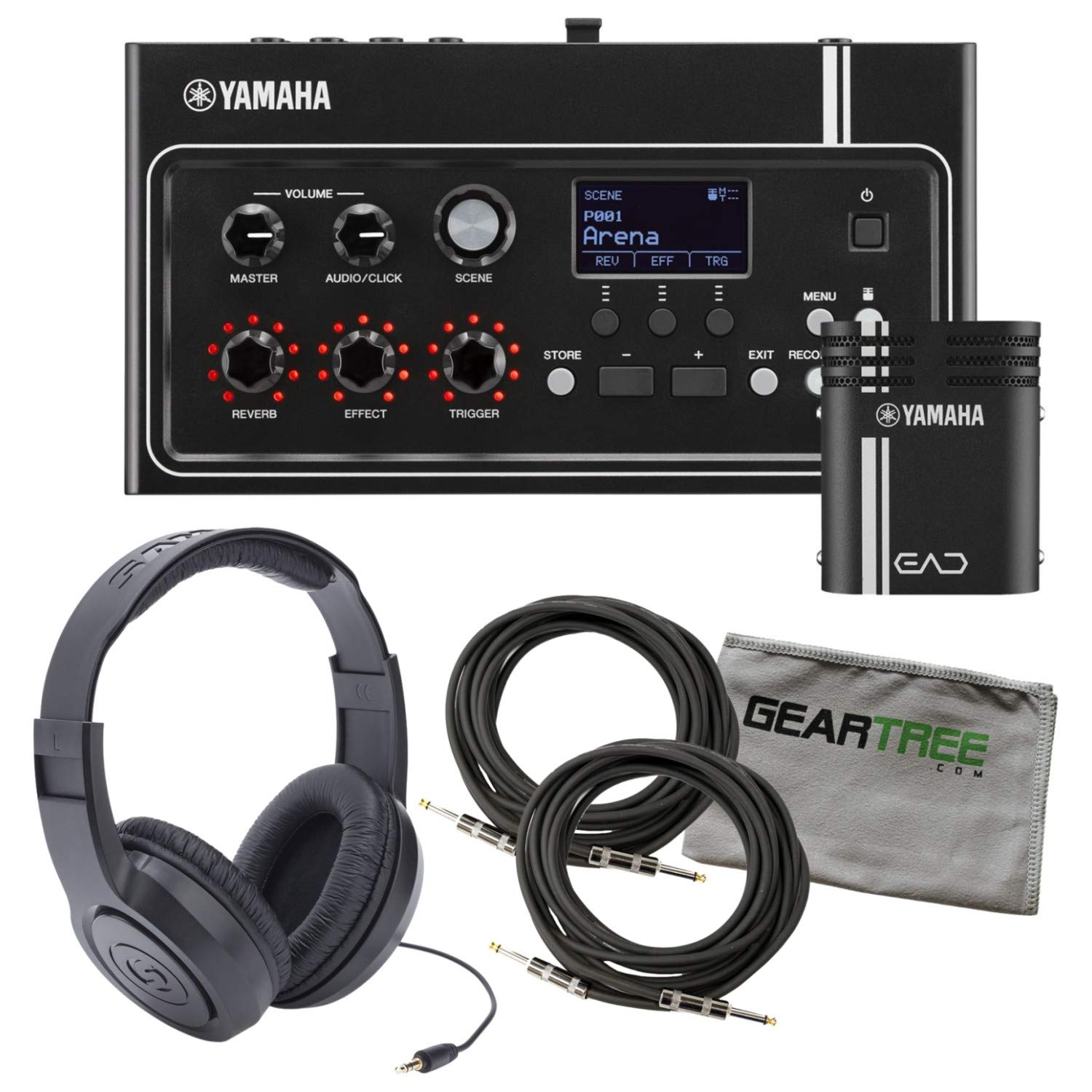 Yamaha EAD10 Electronic Acoustic Drum Module (Included Mic with Trigger Pickup & Power Supply) Bundle with Zorro Sounds Drum Polish Cloth, 2 x Instrument Cables & Headphones Best Drum Module Bundle by Yamaha