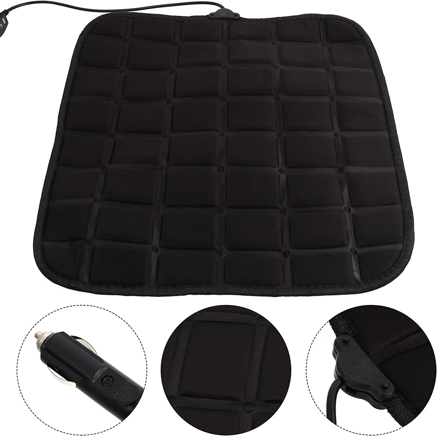 BESPORTBLE Heated Car Seat Covers Without Backrest Cotton Car Seat Cushion Heated Vehicle Seat Pad Auto Seat Protector for SUV Cars