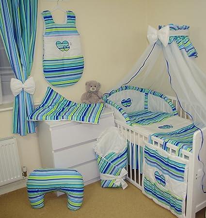 Juego de ropa de cama 17 Piezas para Cuna 120x60cm (15- Rayitas fresa)