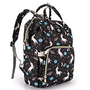 Backpack Diaper Bag Multi-Function Waterproof Large Travel Maternity Nappy Bookbag Diaper Bag Backpack for Dad Mom,Durable and Stylish, Unicorn Baby Diaper Bag for Boys Girls (Black)
