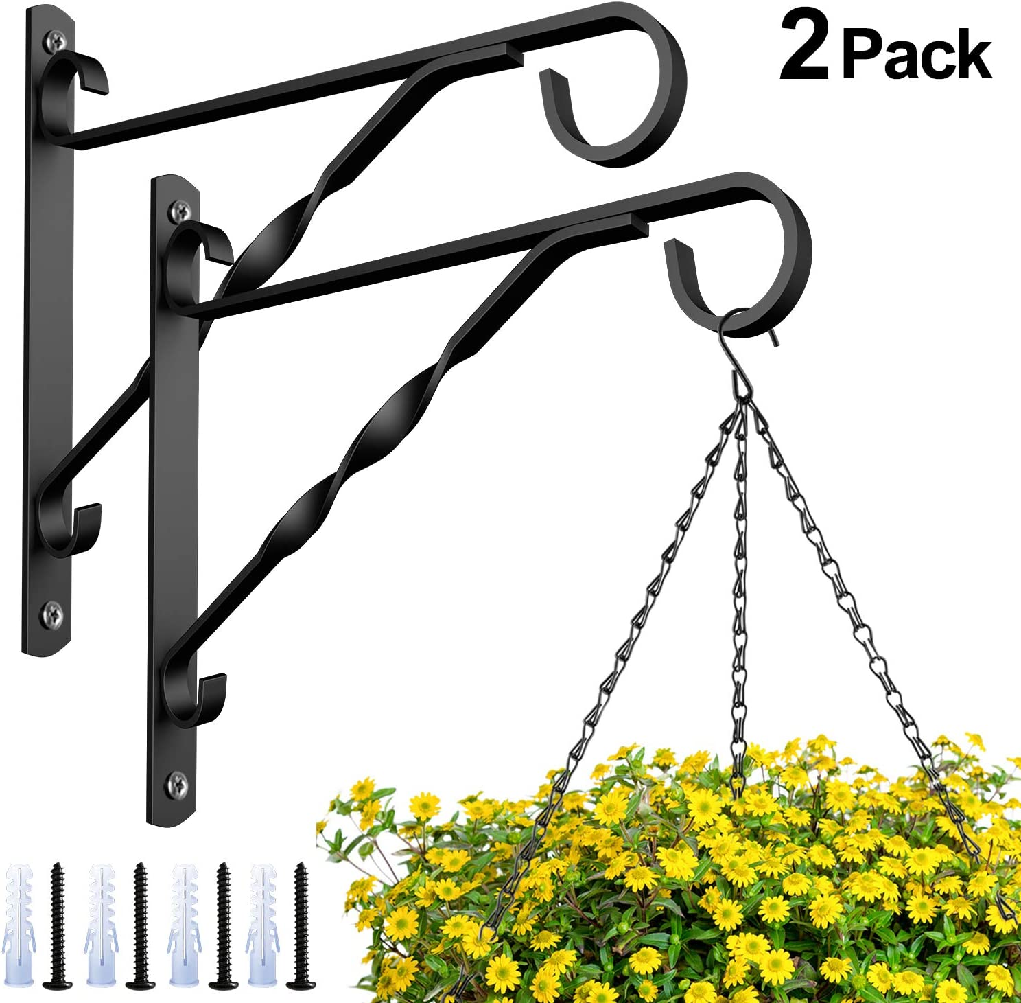 Amagabeli 2 Pack Hanging Plants Bracket 10'' Wall Planter Hook Flower Pot Bird Feeder Wind Chime Lanterns Hanger Patio Lawn Garden for Outdoor Indoor Shelf Fence Screw Mount Against Door Arm Black
