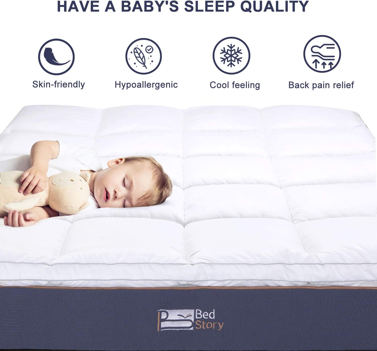 """BedStory Mattress Topper 2.5 Inch Twin Hypoallergenic Down Alternative Fiber Mattress Cover Hotel Quality with 4 Anchor Bands Stretches Up to 21/"""" Deep Pocket,Machine Washable Cooling Mattress Pad"""