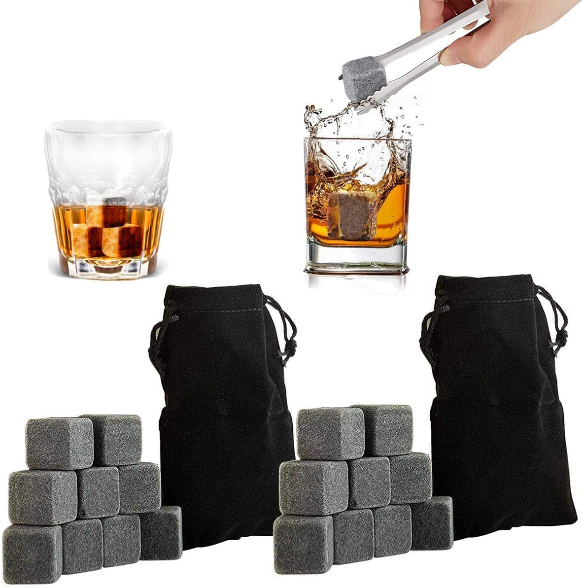 TraderPlus Set of 18 Cocktail Stones Chillers Whiskey Chilling Rocks with Velvet Carrying Pouch - Perfect Gift