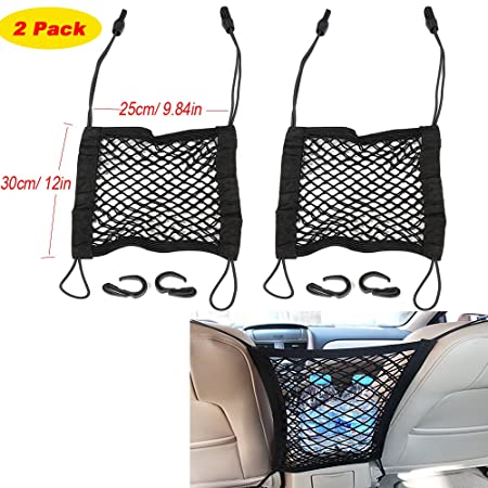 KOBWA Car Seat Net Organizer+ Disturb Stopper, Armrest Cargo Mesh Storage  Pocket Holder with Hanging Hooks for Phone/ Purse Bag/ Baby Kits, As a