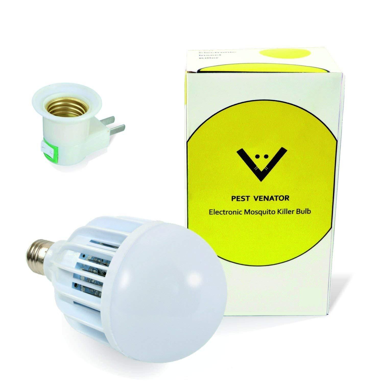Pest Venator Bug Zapper Light Bulb – 3-in-1 Indoor Outdoor Electronic Mosquito Killer for Home Office Garage Patio Porch – Fits Standard Light Fixture E27 LED White Bulb 110V/220V Adapter Included