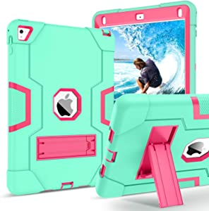 GUAGUA iPad Air 2 Case Kickstand 3 in 1 High Impact Rugged Heavy Duty Full-Body Shockproof Drop Protection Shock Resistant Cover Durable Tablet Case for iPad Air 2/Pro 9.7 Green/Rose
