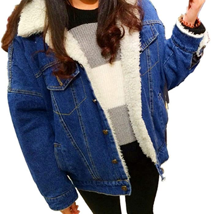 7d58948f Beancan Winter Thick Lambs Wool Basic Denim Jacket Women Corduroy ...
