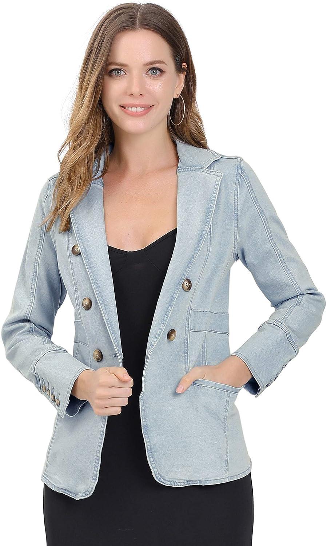 Allegra K Women's Jeans Blazer Lapel Long Sleeve Work Office Denim Jacket with Pockets