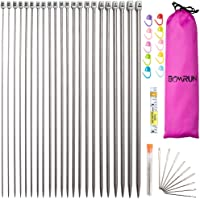 Knitting Needle Set, BCMRUN 22PCS 2mm(B)-8mm(L) Straight Single Pointed Stainless Steel Sweater Needles Set(11Pair-11…