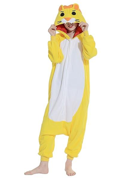 Wamvp Pijama Invierno Mujer Animal Carnaval Disfraz Cosplay Adultos Unisex -Amarillo L