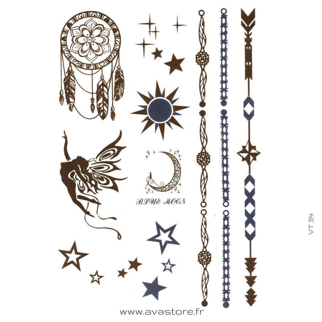 Tatuajes temporales Bijoux, pulseras, Etoiles, sol, Dreamcatcher ...