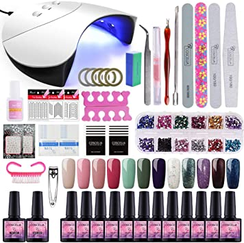 Saint-Acior 12PCS Gel Uñas Esmalte Semipermanente 8ml UV/LED Lámpara Secador de Uñas 36W Nail Dryer Capa Base Capa Superior Kit para Manicura: Amazon.es: Belleza