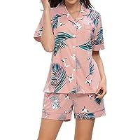 TOP-MAX Womens Pajamas Set Shorts-Short Sleeve Sleepwear Ladies Button Down Nightwear Soft Pj Lounge Sets S-XXL