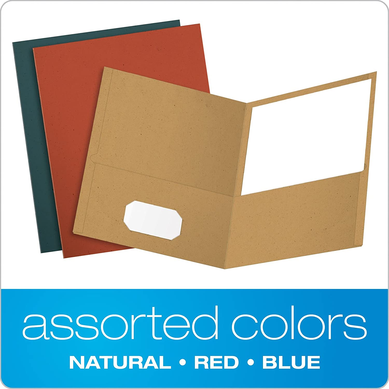 Assorted Colors 25 per Box Letter Size 78513 Earthwise by Oxford Twin Pocket Folders