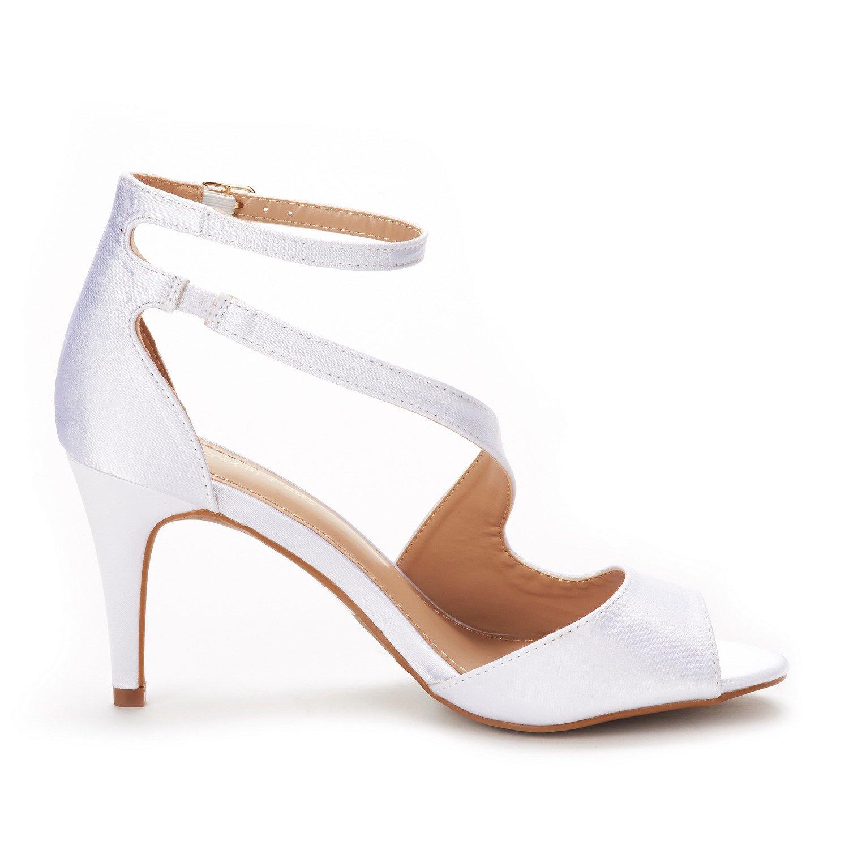 DREAM PAIRS Women's NILE White Satin Fashion Stilettos Open Toe Pump Heel Sandals Size 9.5 B(M) US by DREAM PAIRS (Image #3)