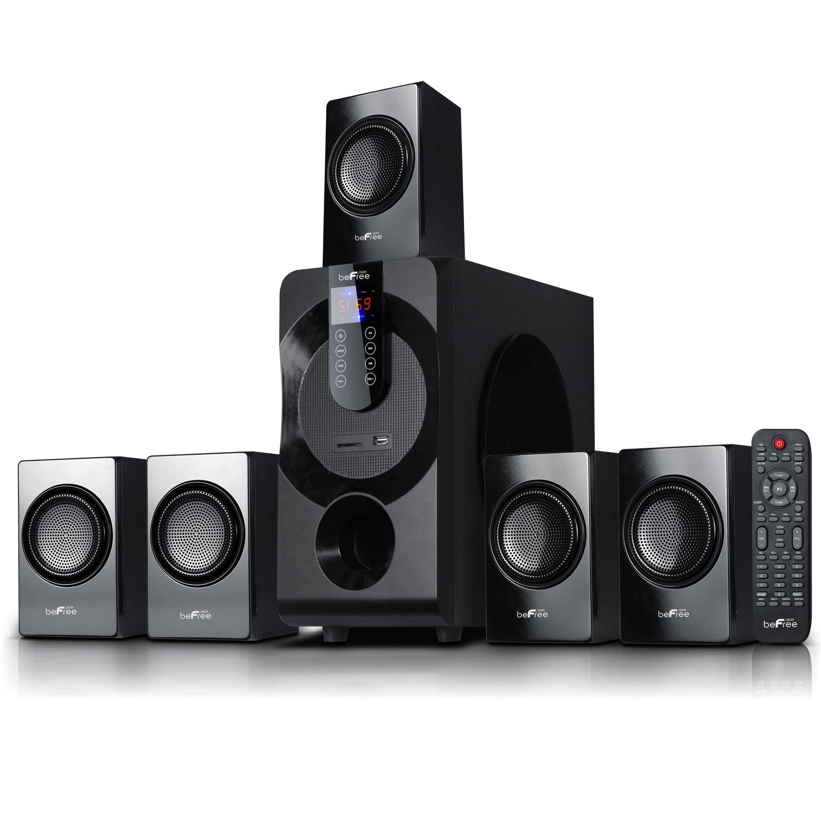 beFree Sound BFS-460 Channel Surround Sound Bluetooth Speaker System in Black
